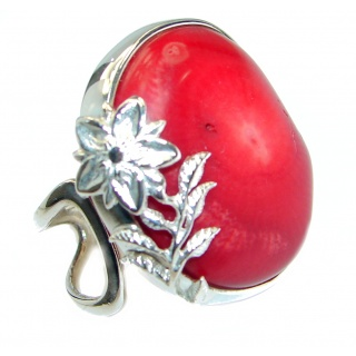 Gorgeous natural Fossilized Coral .925 Sterling Silver handmade ring s. 7 adjustable