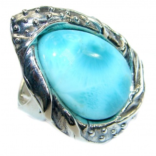 Perfection Genuine Larimar .925 Sterling Silver handcrafted Ring s. 8 adjustable