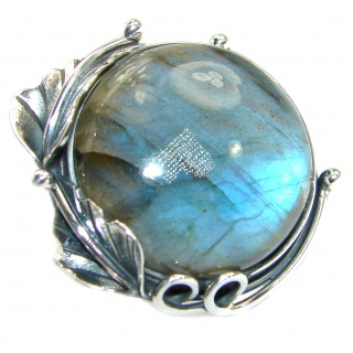 Blue Fire Labradorite oxidized .925 Sterling Silver handmade ring size 7 adjustable