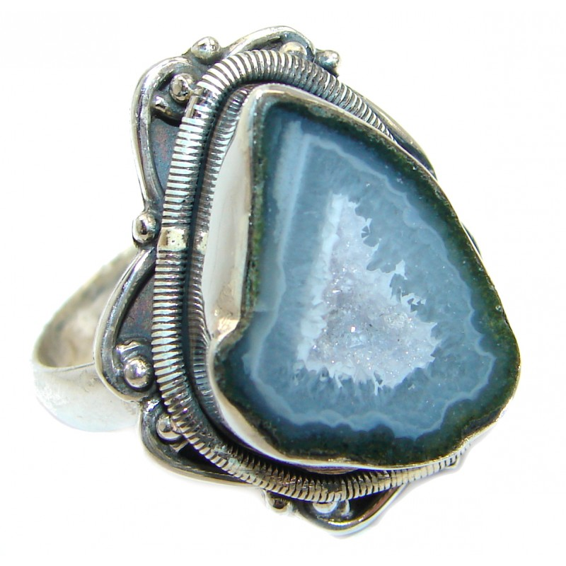 Exotic Druzy Agate .925 Silver Ring s. 11