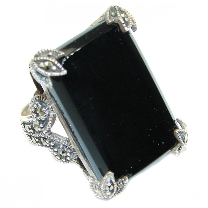 Authentic Onyx .925 Sterling Silver handmade Ring s. 6
