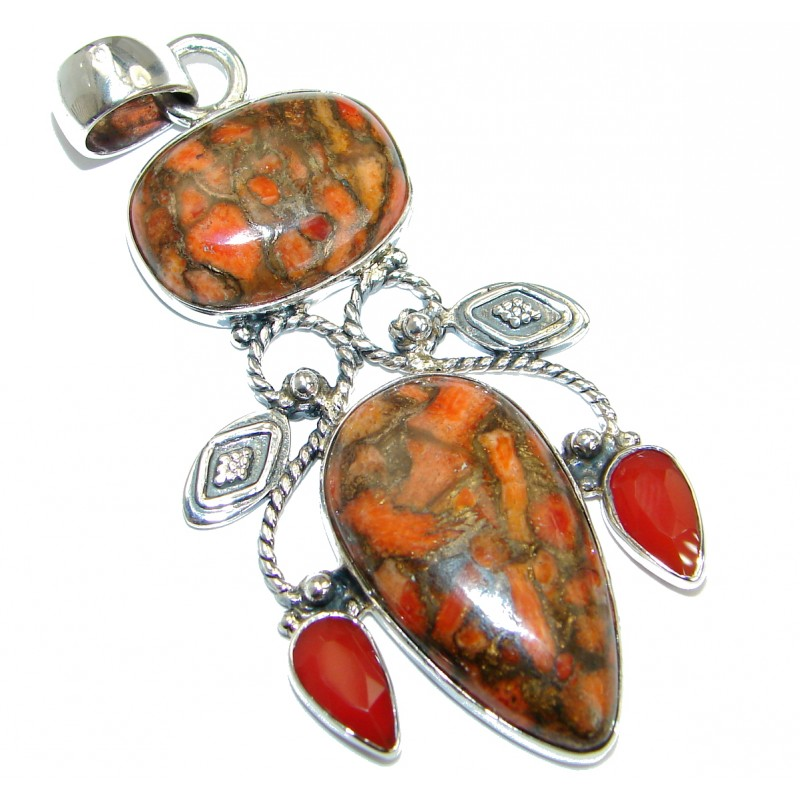 Orange Turquoise with copper vains .925 Sterling Silver Pendant