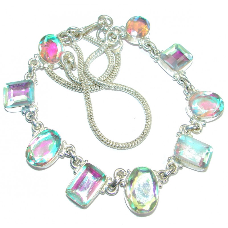 Fancy Genuine Rainbow Quartz Silver Tone handmade necklace