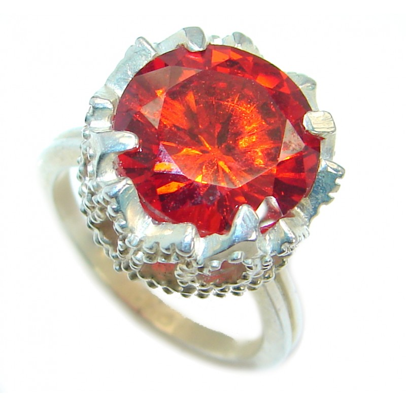 Red Quartz Silver Tone ring s. 7