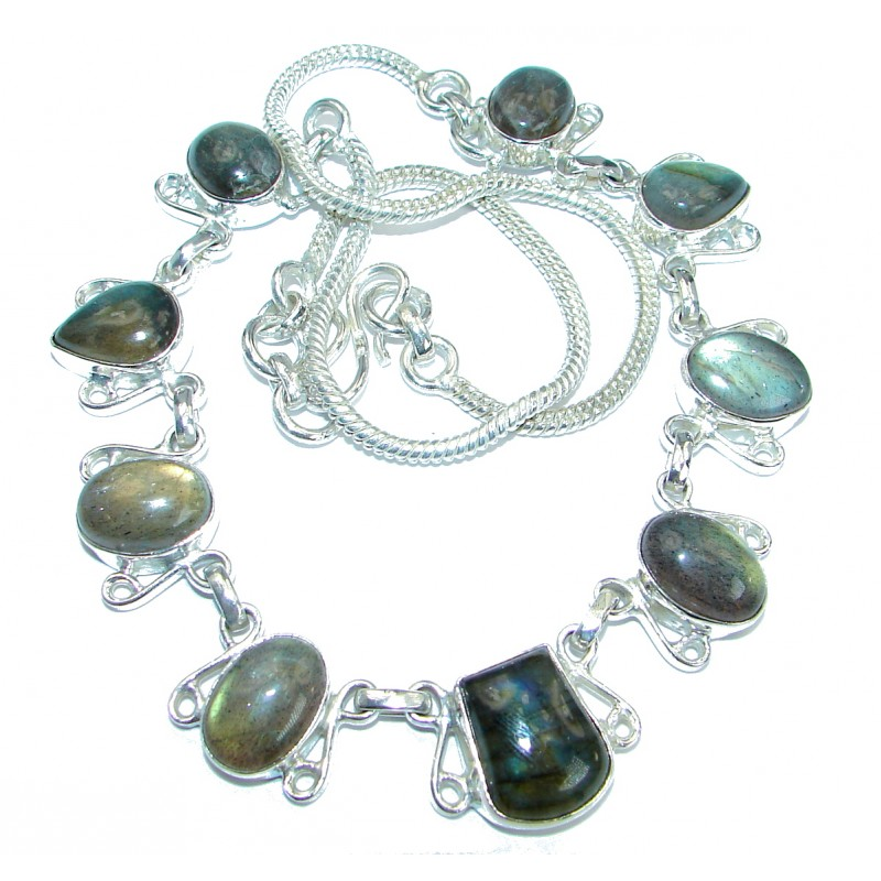 Fancy Genuine Rainbow Labradorite Silver Tone handmade necklace