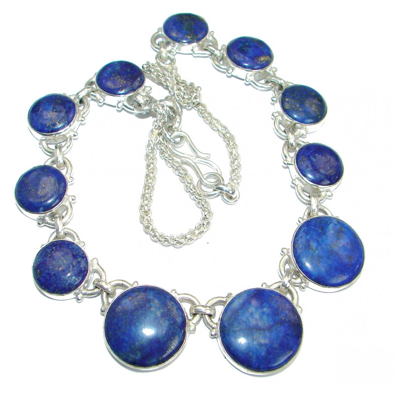 Big Fashion Design Lapis Lazuli Silver Tone necklace