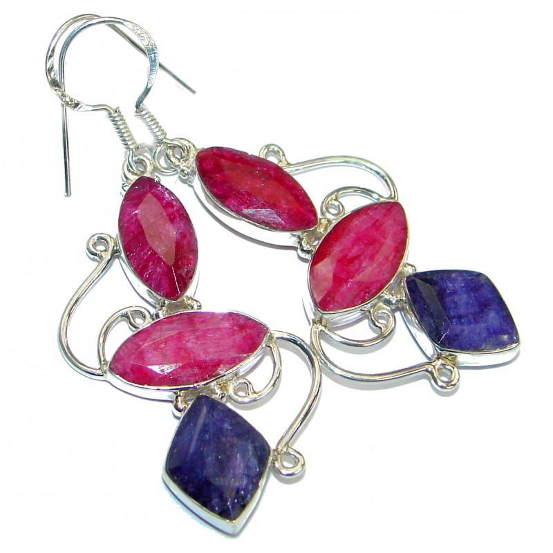 Secret Beauty Sapphire Ruby .925 Sterling Silver hook earrings