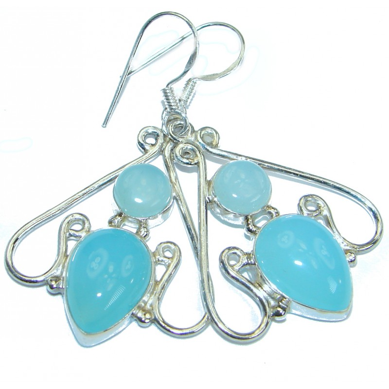 Exclusive Design Chalcedony Agate .925Sterling Silver earrings