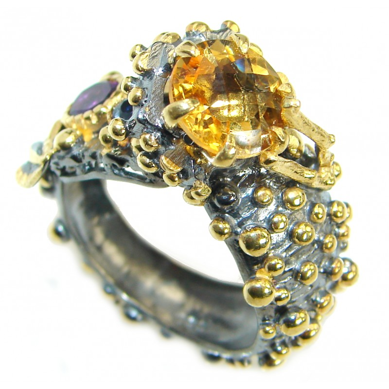 Vintage Style Citrine .925 Sterling Silver handmade Cocktail Wrap Ring s. 9