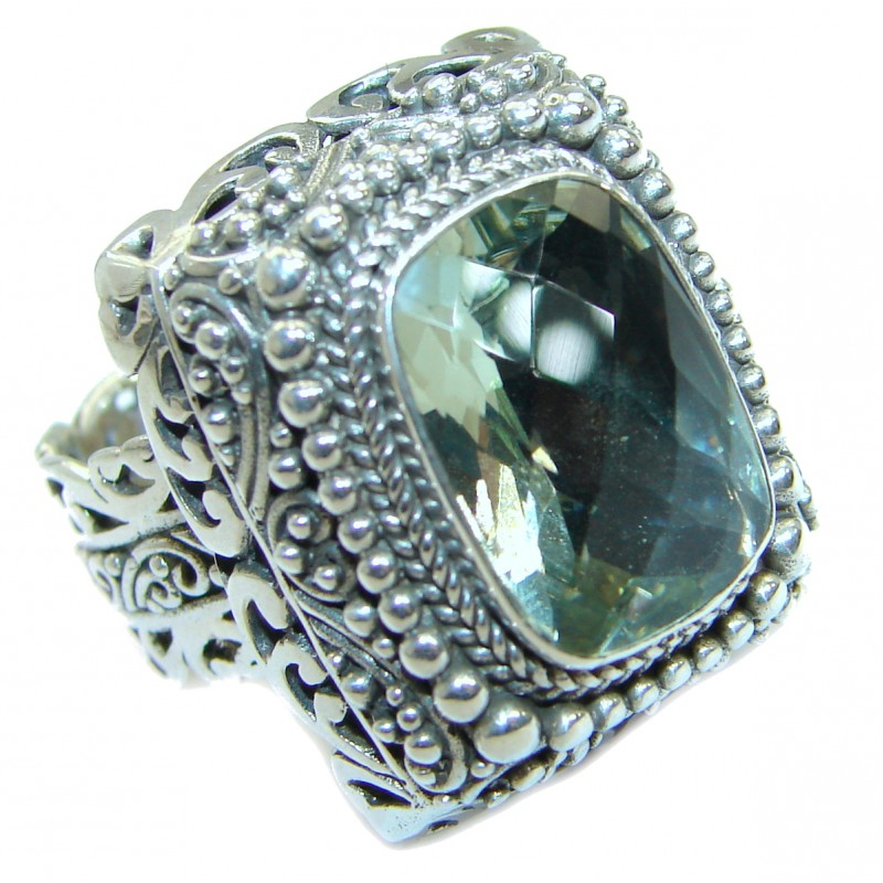 Genuine Green Amethyst .925 Sterling Silver handmade Cocktail Ring s. 6 3/4