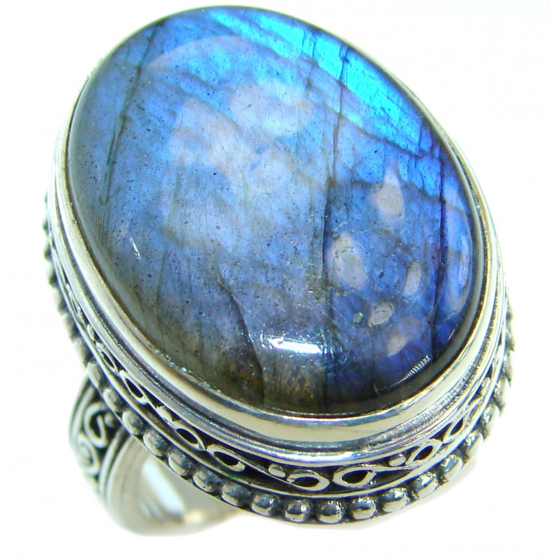 Blue Fire Labradorite .925 Sterling Silver handmade ring size 9