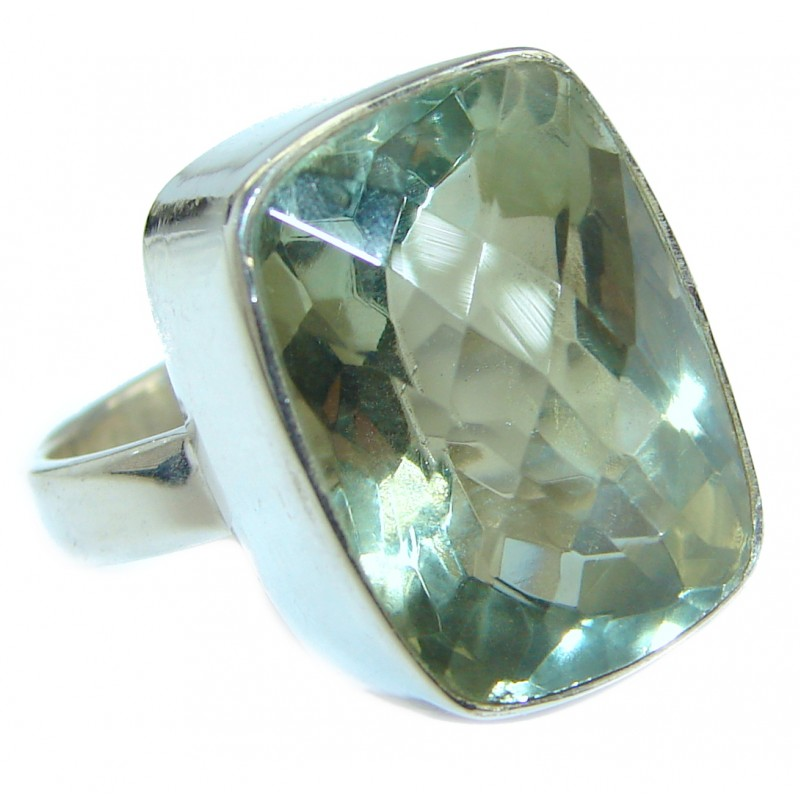 Emerald cut Green Amethyst .925 Sterling Silver handmade Cocktail Ring s. 6 1/4