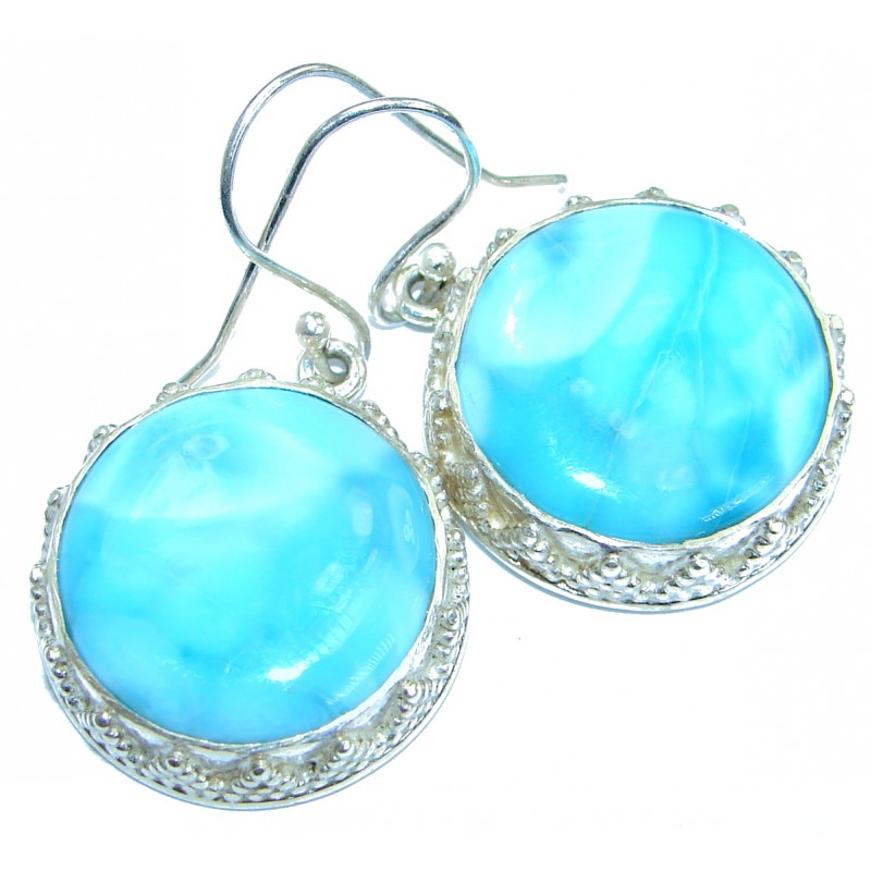 Caribbean Beauty Blue Larimar .925 Sterling Silver handcrafted earrings