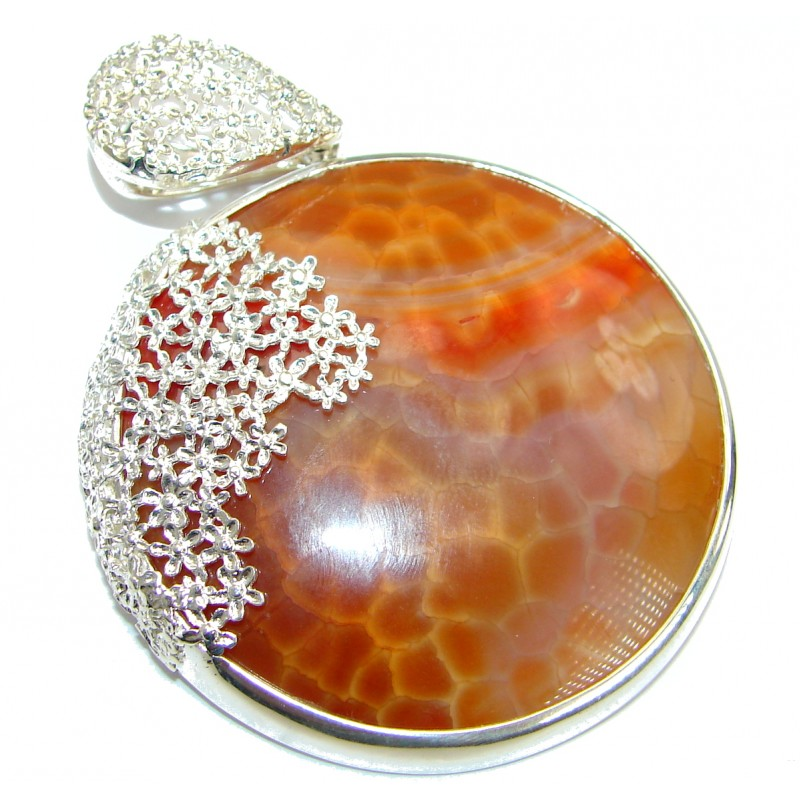 Huge Perfect Mexican Fire Agate .925 Sterling Silver handmade Pendant