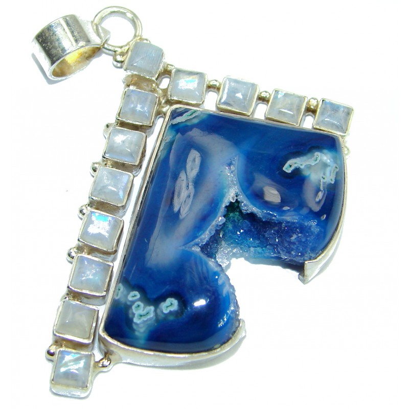 Blue Agate Druzy .925 Sterling Silver Pendant