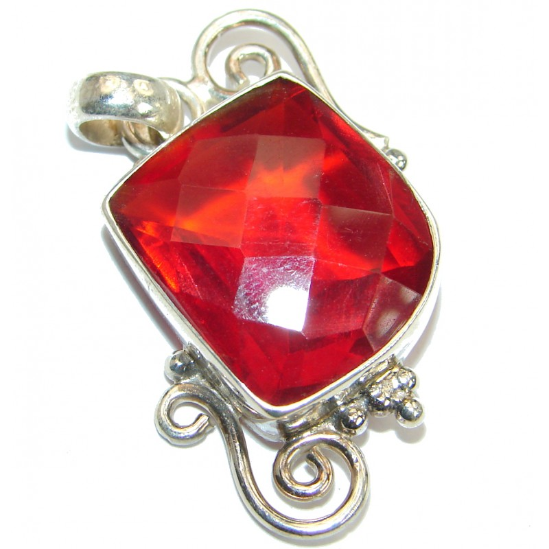 Red Quartz .925 Sterling Silver handmade Pendant