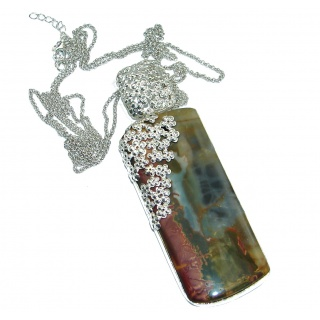Huge Perfect Harmony Morrisonite oxidized .925 Sterling Silver handmade necklace