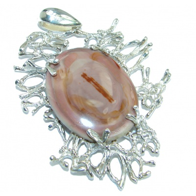Huge Exclusive Imperial Jasper oxidized .925 Sterling Silver handcrafted Pendant
