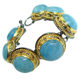 Exclusive 180ct Natural Aquamarine 14K Gold over .925 Sterling Silver handmade Bracelet