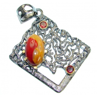 Aura Of Beauty Australian Bracciated Mookaite Jasper Rhodium Gold over .925 Sterling Silver pendant