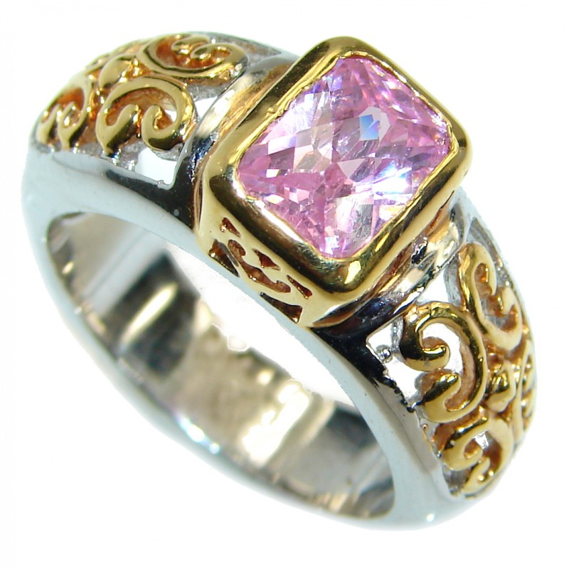 Sweet Pink Topaz 14 K Gold over .925 Silver handcrafted Ring s. 7 3/4