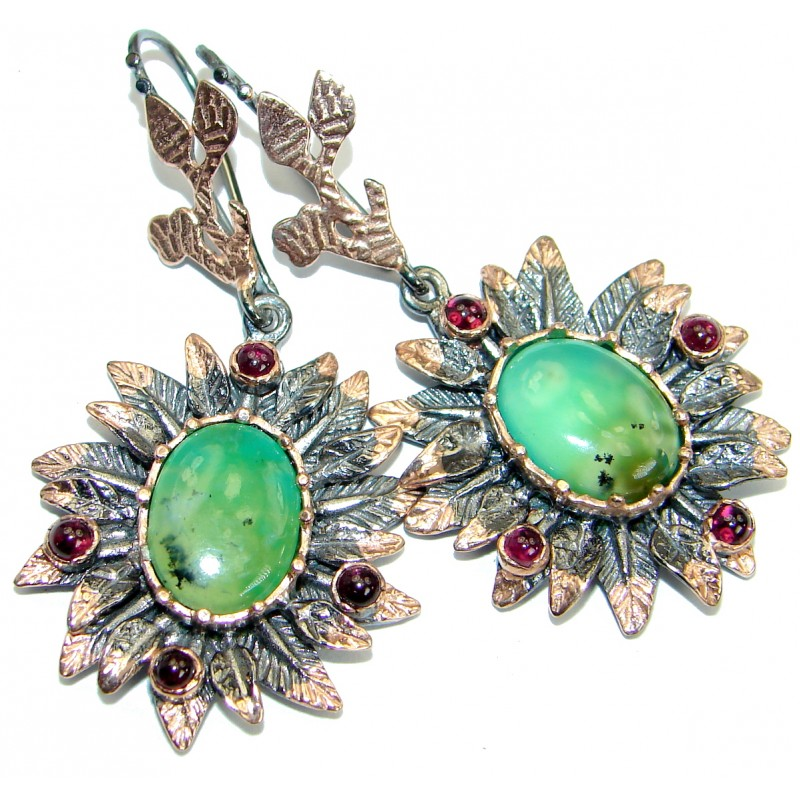 Genuine Chrysoprase Rose Gold plated over .925 Sterling Silver handmade earrings