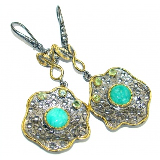 Genuine Turquoise Gold Rhodium over .925 Sterling Silver handmade earrings