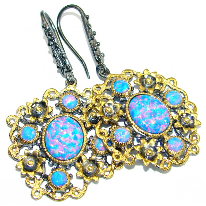 Baroque Style Japanese Opal Gold over .925 Sterling Silver handmade earrings
