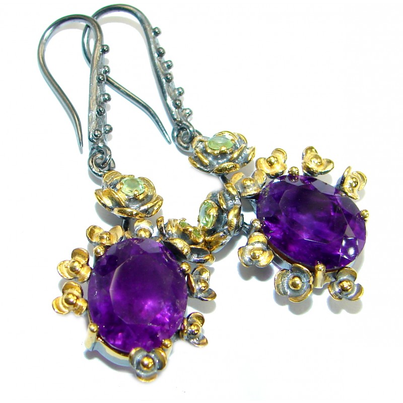Perfect genuine Amethyst 14K Gold over .925 Sterling Silver handmade earrings
