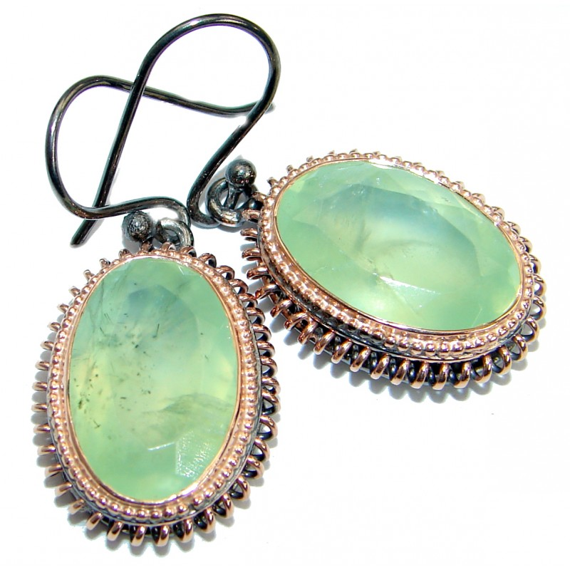 Genuine Prehnite 14K Gold Rhodium over .925 Sterling Silver handmade earrings