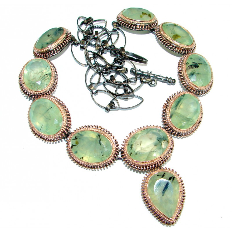 Sublime Genuine Moss Prehnite Rose Gold over .925 Sterling Silver handmade Necklace