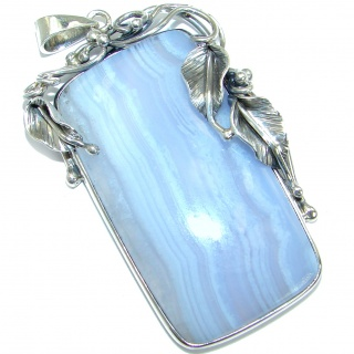 Huge Natural Chalcedony Lace Agate .925 Sterling Silver handmade Pendant
