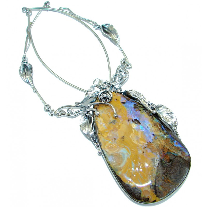Large 3 1/4 inches genuine Australian Boulder Opal .925 Sterling Silver brilliantly handcrafted necklace