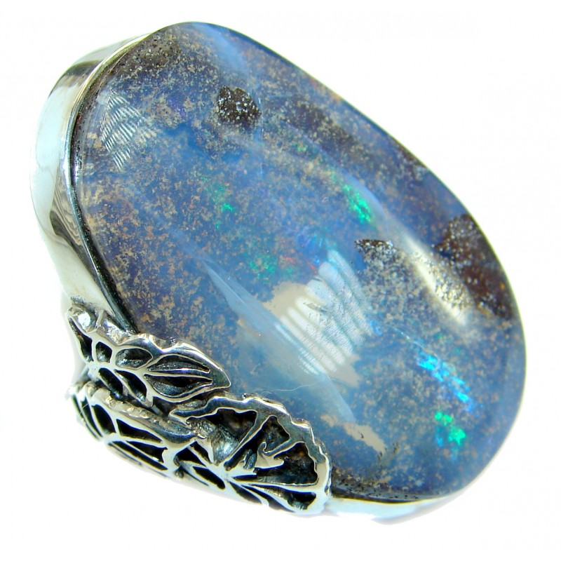 Australian Boulder Opal .925 Sterling Silver handcrafted ring size 7 adjustable
