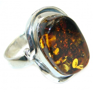 Genuine Baltic Polish Amber .925 Sterling Silver handmade Ring size 9 1/4