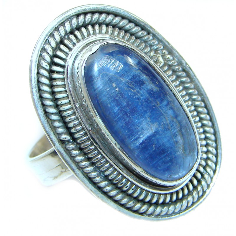 Authentic Blue Kyanite .925 Sterling Silver handmade Ring s. 10