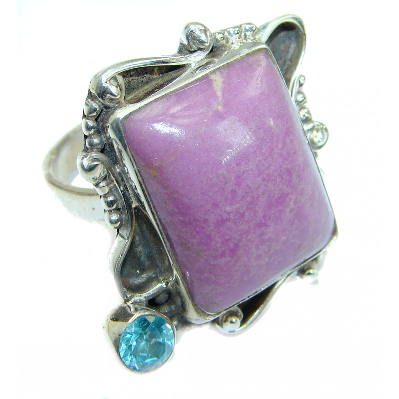 Copper Purple Turquoise .925 Sterling Silver handmade Ring s. 9