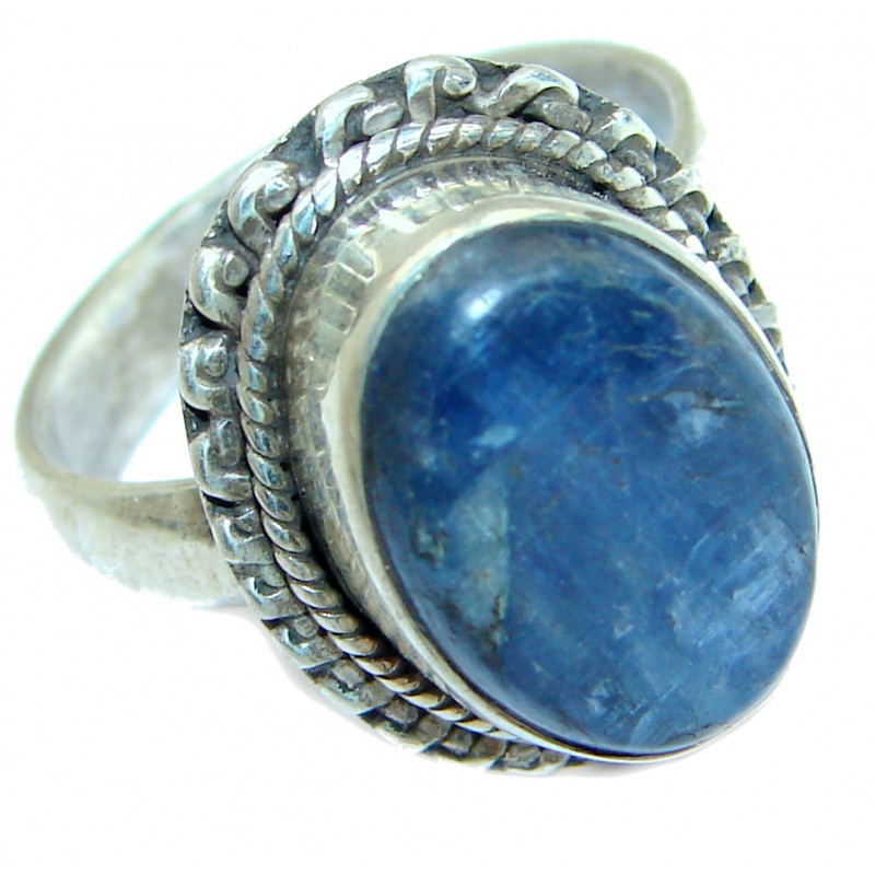 Authentic Blue Kyanite .925 Sterling Silver handmade Ring s. 7 3/4