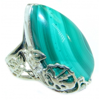 Sublime quality Malachite .925 Sterling Silver handcrafted ring size 6 adjustable