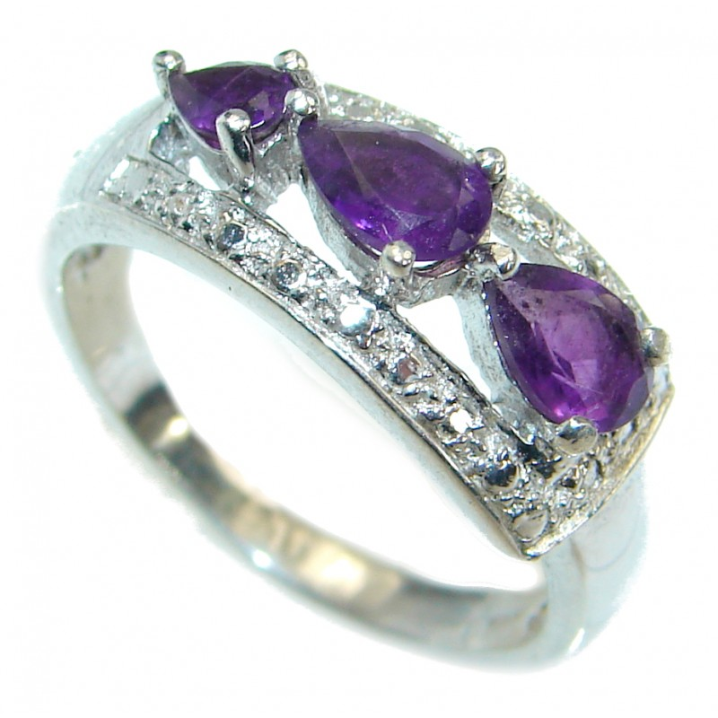 Amethyst .925 Sterling Silver handmade Cocktail Ring s. 7 1/4