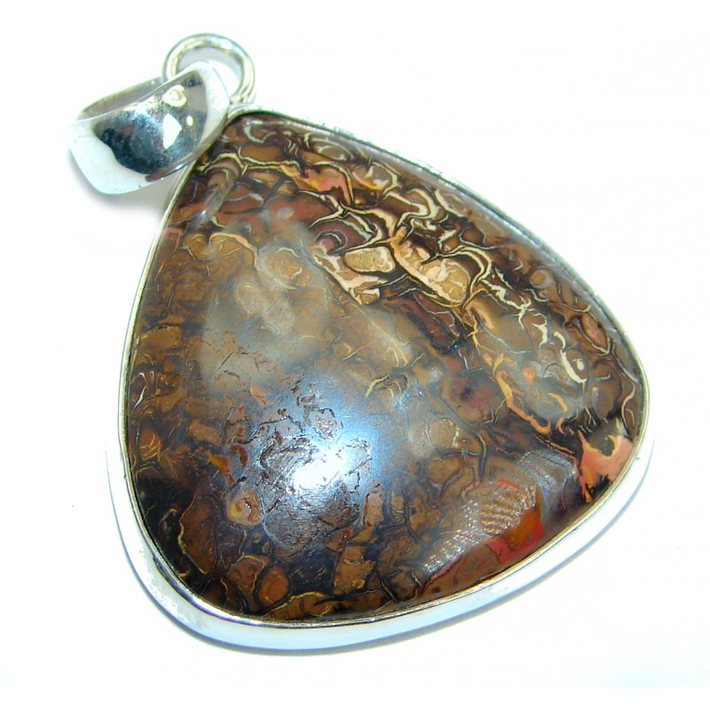 Simple Brown Fossilized Crinoid .925 Sterling Silver pendant