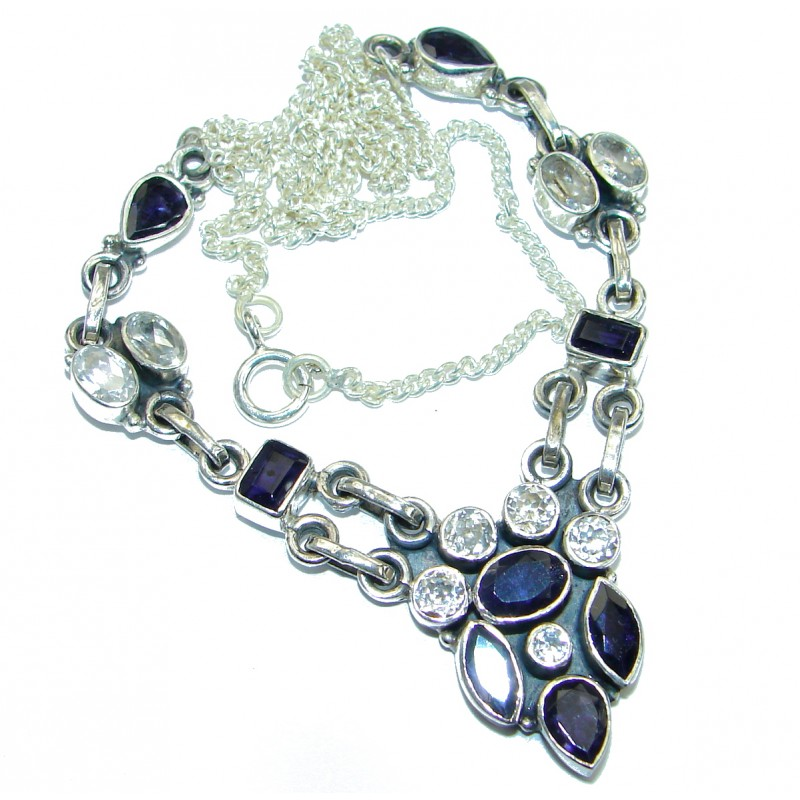 Great genuine Iolite .925 Sterling Silver handmade 16 inches long Necklace