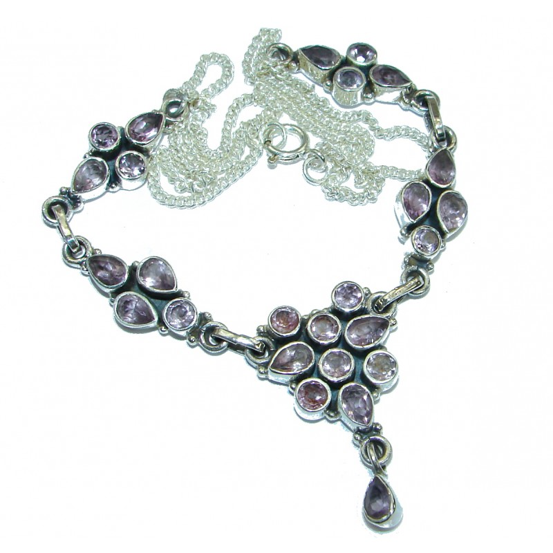Great genuine Amethyst .925 Sterling Silver handmade 20 inches long Necklace