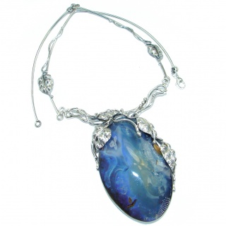 Large 2 7/8 inches genuine Australian Boulder Opal .925 Sterling Silver brilliantly handcrafted necklace