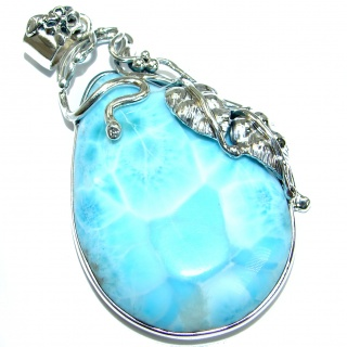 Best Quality Genuine Larimar oxidized .925 Sterling Silver handmade pendant