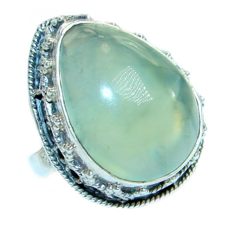 Supernova Moss Prehnite .925 Sterling Silver handcrafted ring; s. 8 1/4