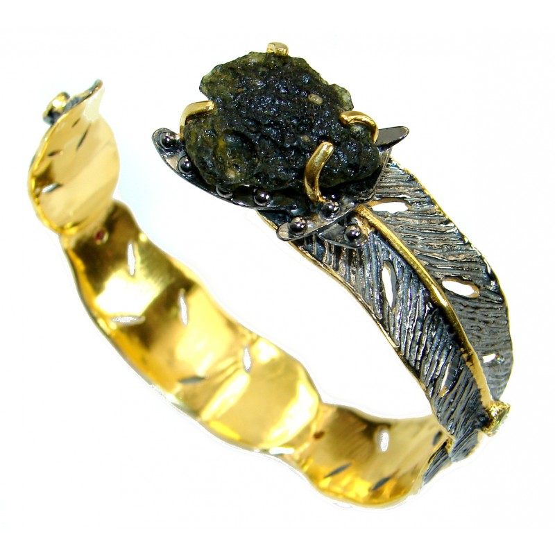Genuine Green Moldavite Gold Rhodium over .925 Sterling Silver Bracelet / Cuff