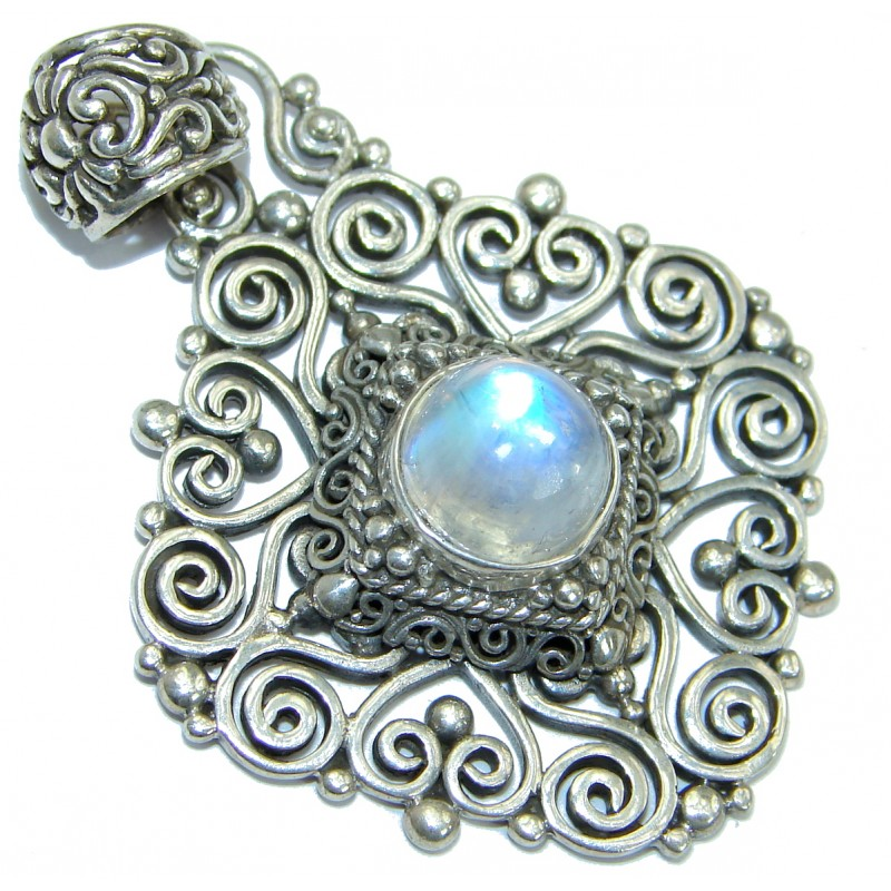 Rich Design Fire Moonstone .925 Sterling Silver handmade Pendant