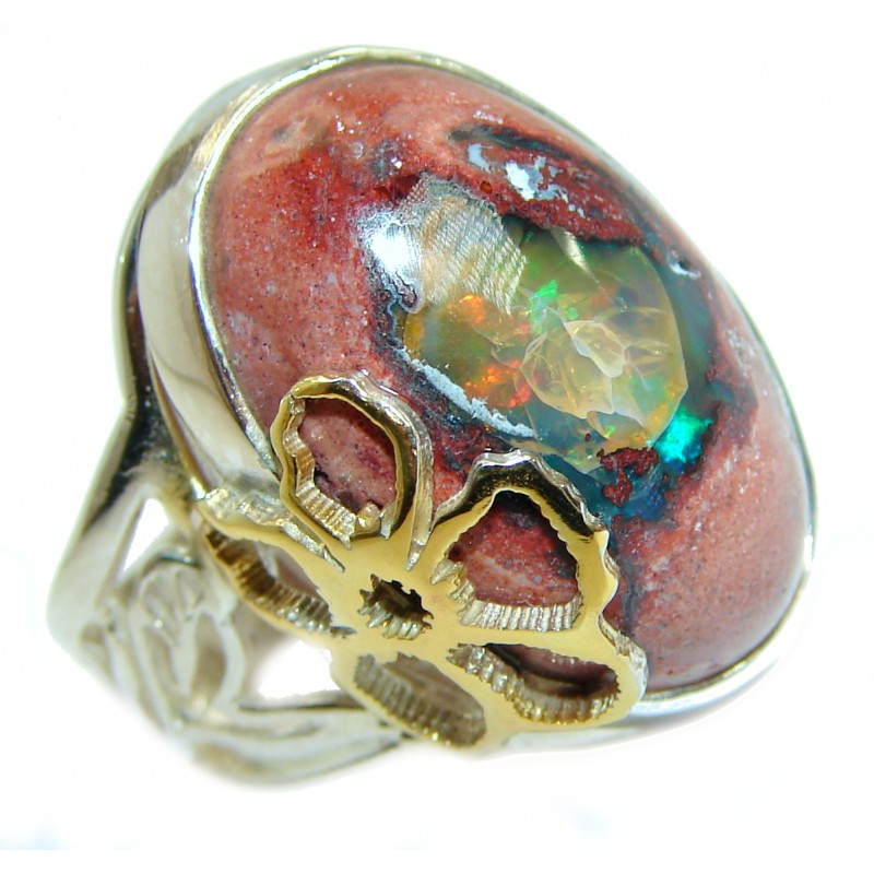 Huge Mexican Opal oxidized two tones .925 Sterling Silver handcrafted ring size 7 adjustable