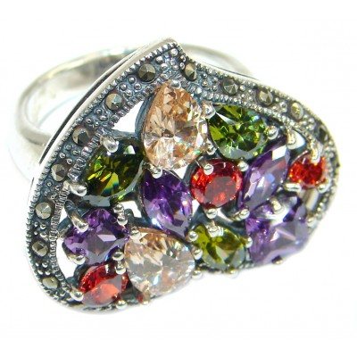 Huge Magic Cubic Zirconia .925 Sterling Silver handmade Ring s. 5 3/4